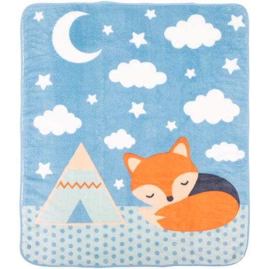 Cobertor Fleece Microfibra 90 Cm X 1,10 M Raposa Azul