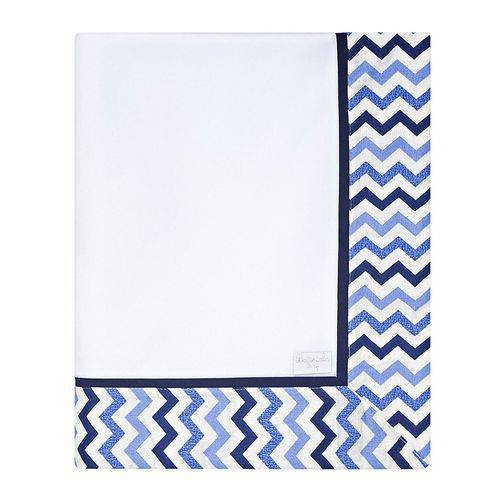 Cobertor Fofo de Bebê Chevron Marinho e Azul
