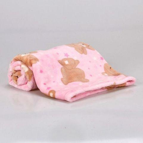 Cobertor Infantil Camesa -Flannel Urso Estrelas Rosa