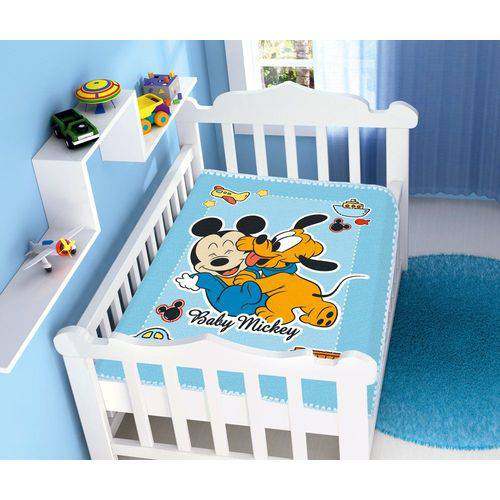 Cobertor Infantil Mickey e Pluto Brincando