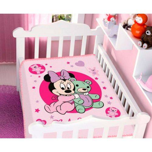Cobertor Infantil Raschel Disney Baby Jolitex Ternille não Alérgico 90cmx1,10m Minnie Ursin