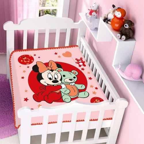 Cobertor Jolitex Infantil Berço Bebê Disney Minnie Ursinho V