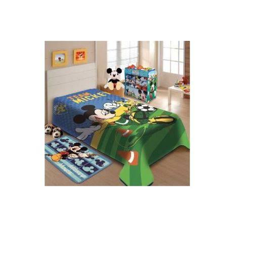 Cobertor Juvenil Raschel Jolitex Ternille não Alérgico 100 Poliéster Mickey Mouse Futebol