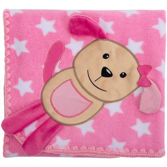 Cobertor para Berço Bordado 100% Algodão - Cachorrinha Estrela Rosa