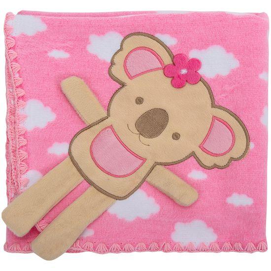 Cobertor para Berço Bordado 100% Algodão - Coala Nuvem Rosa