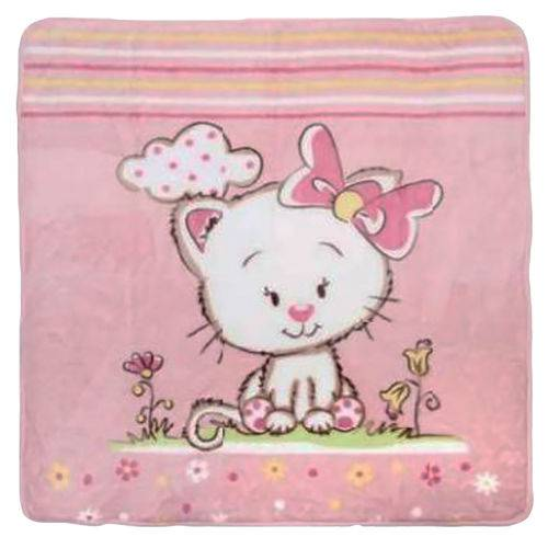 Cobertor para Berço Feminino Gatinha Rosa