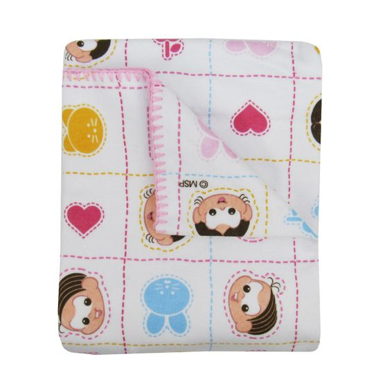 Cobertor Turma da Mônica Feminino Rosa com Branco Mônica e Magalí