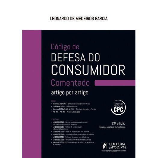 Codigo de Defesa do Consumidor Comentado Artigo por Artigo - Juspodivm - 13 Ed