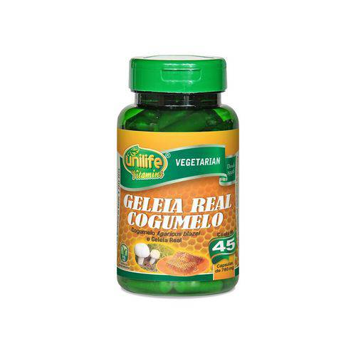 Cogumelo Agaricus Blazei e Geleia Real Liofilizada - Unilife - 45 Cápsulas