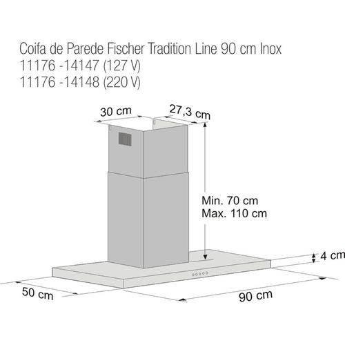 Coifa de Parede Fischer Tradition Line 90 Cm Inox 11176-14148 - 220V
