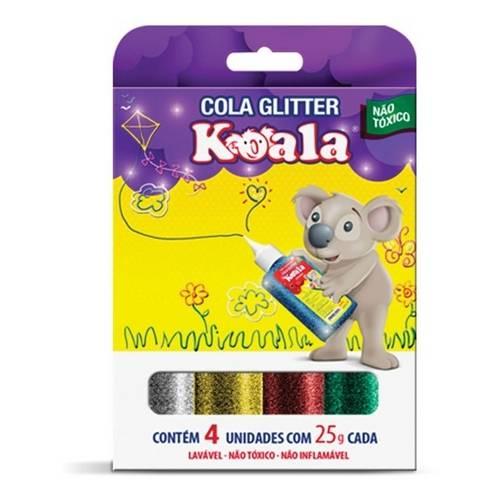 Cola C/ Glitter Colorida Escolar Koala C/ 4 Cores - Delta