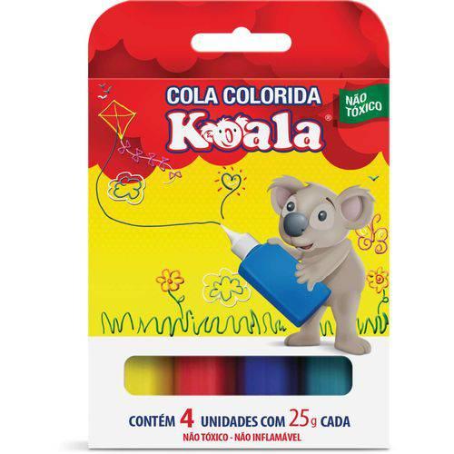 Cola Colorida Koala com 04 Cores 25g Delta Estojo
