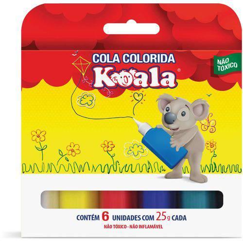 Cola Colorida Koala com 06 Cores 25g Delta Estojo