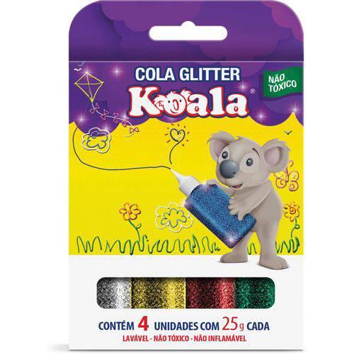 Cola com Glitter Koala 4 Cores Delta Caixa