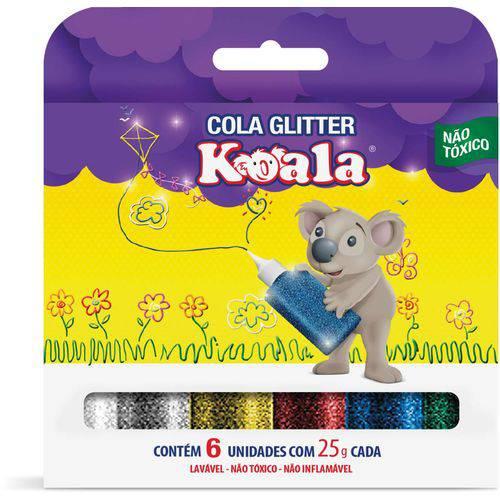 Cola com Glitter Koala 6 Cores Delta Caixa