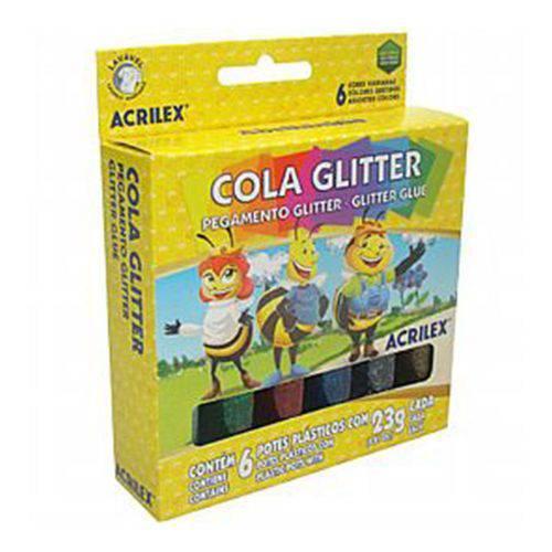 Cola Glitter 6 Cores 23g Acrilex Embalagem com 3 Unidades