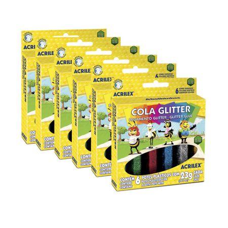 Cola Glitter 6 Cores 23g Pct 6 Unidades Acrilex