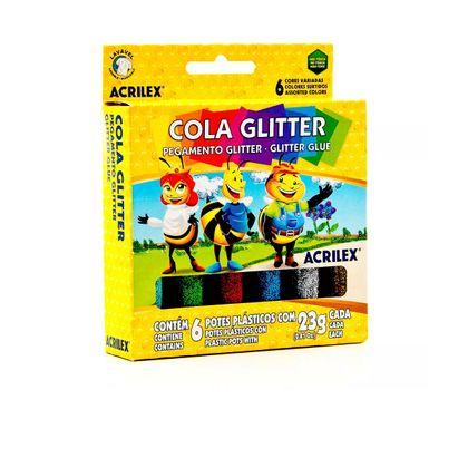 Cola Glitter com 6 Cores Sortidas Acrilex Acrilex