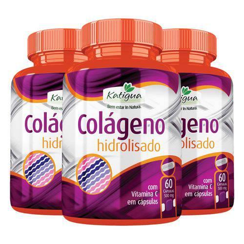 Colágeno Hidrolisado com Vitamina C - 3 Un de 60 Cápsulas - Katigua
