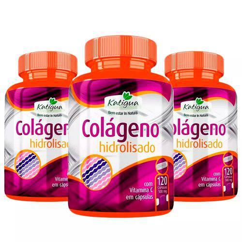 Colágeno Hidrolisado com Vitamina C - 3x 120 Cápsulas - Katigua