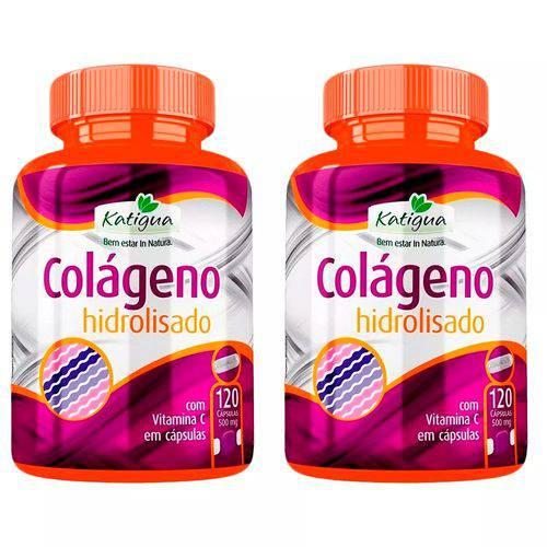 Colágeno Hidrolisado com Vitamina C - 2x 120 Cápsulas - Katigua