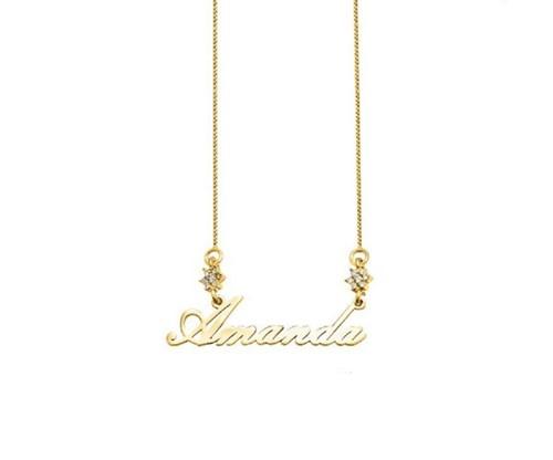 Colar com Flor Cravejada Manuscrita com Nome Personalizado Banhado a Ouro 18k
