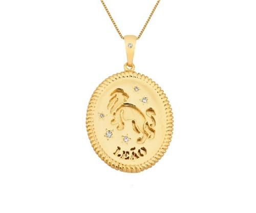Colar de Signo Leão Personalizado Banhado a Ouro 18k