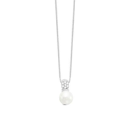 Colar em Ouro Branco 18K com Perola e Diamante - AU5836
