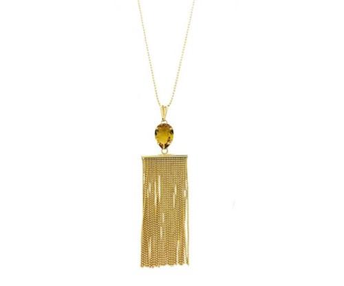 Colar Franja com Cristal Topázio Amarelo Banhado a Ouro 18k