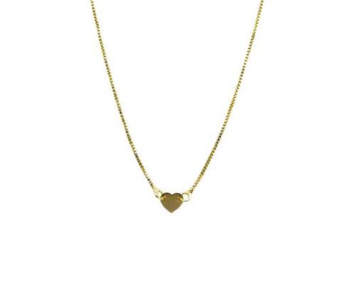 Colar Gargantilha Coração Liso Delicado Banhado Ouro 18k