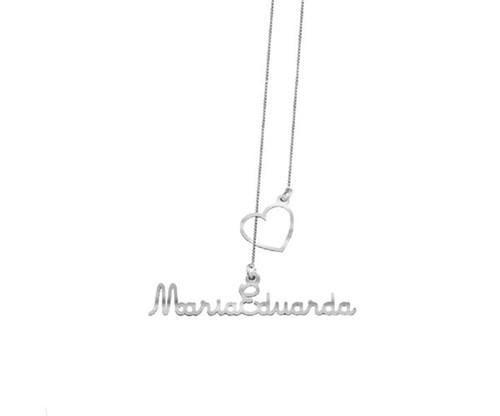 Colar Gravata Coração Vazado com Nome Personalizado em Prata 925