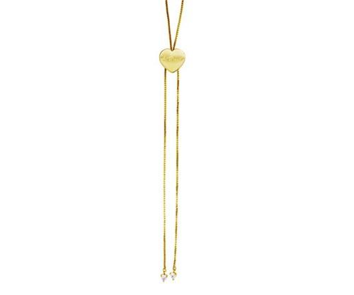 Colar Gravatinha de 70cm Coração com Nome Personalizado Banhado a Ouro 18k