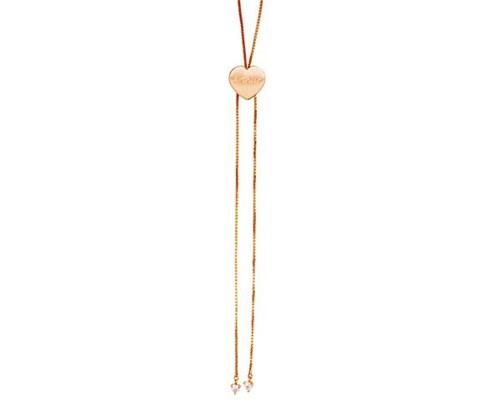 Colar Gravatinha de 70cm Coração com Nome Personalizado Banhado a Ouro Rosé