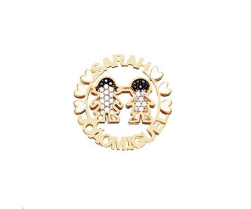 Colar Mandala Casal de Filhos Menino e Menina com Nomes Personalizados Cravejados com Cristais Zircônias Banhado a Ouro 18k