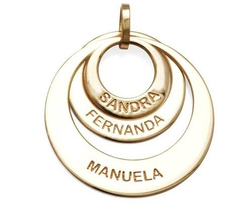Colar Mandala Elos com 3 Nomes Banhado a Ouro 18k