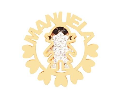 Colar Mandala Filha com Nome Personalizado Cravejado com Cristais Zircônias Banhado a Ouro 18k