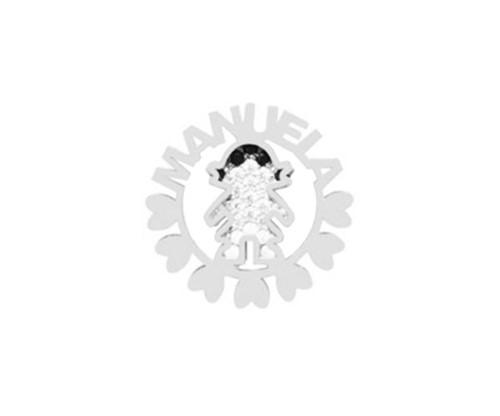 Colar Mandala Filha com Nome Personalizado Cravejado com Cristais Zircônias em Prata 925