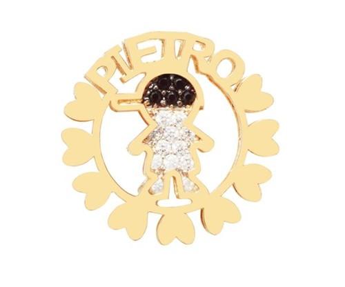 Colar Mandala Filho com Nome Personalizado Cravejado com Cristais Zircônias Banhado a Ouro 18k