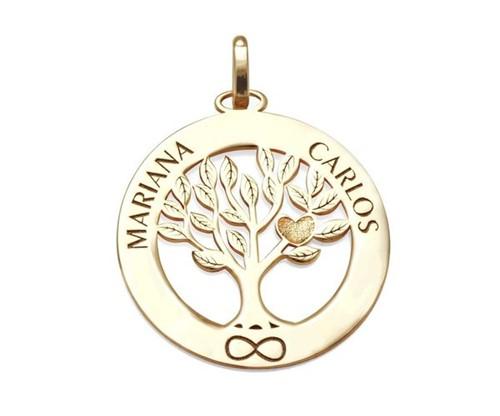 Colar Mandala Personalizada Árvore da Vida Banhado a Ouro 18k