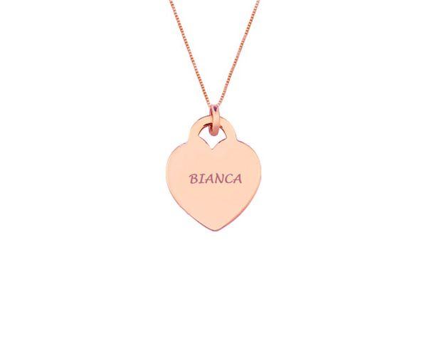 Colar Pingente Coração com Nome Personalizado Liso Banhado a Ouro Rosé