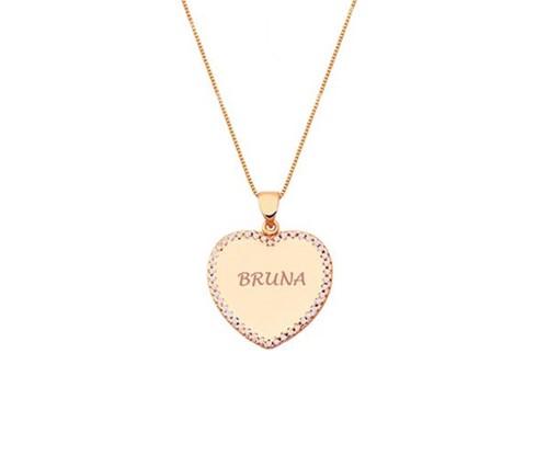 Colar Pingente Coração Cravejado com Nome Personalizado Banhado a Ouro Rosé