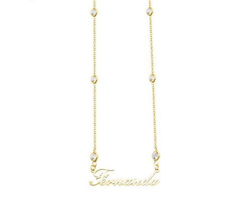 Colar Tiffany com Nome Manuscrito Personalizado Banhado a Ouro 18k