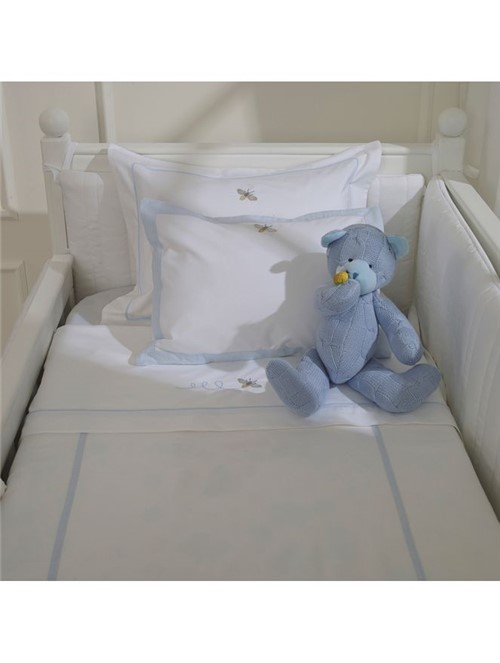 Fronha Abeille - Branco-azul - 30x40