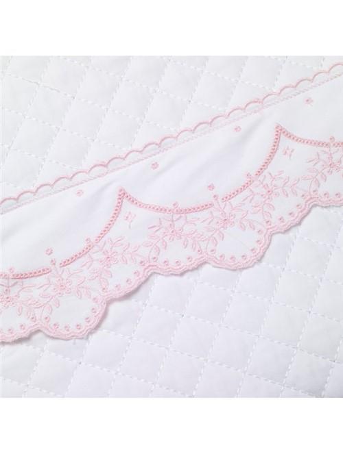 Colcha Berço Quartzo Branca e Rosa 11x14