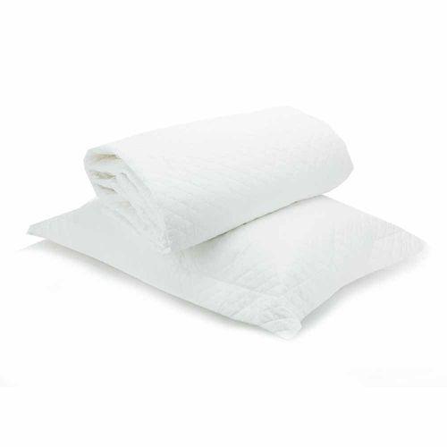 Colcha Solteiro Studio Branca com Porta Travesseiro
