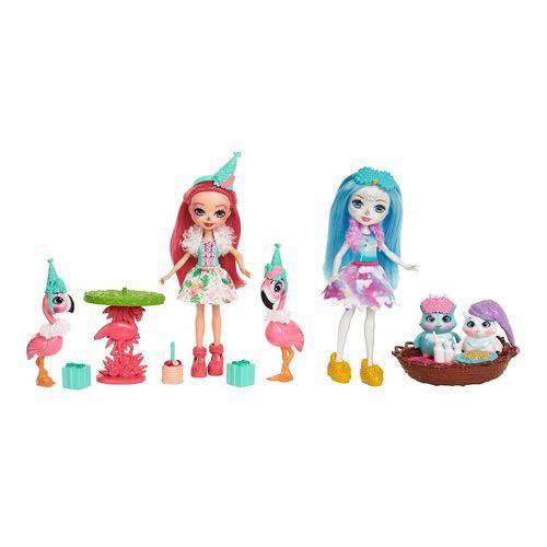 Coleção Bonecas Articuladas Enchantimals - Noite de Corujas e Festa com Flamingos - Mattel