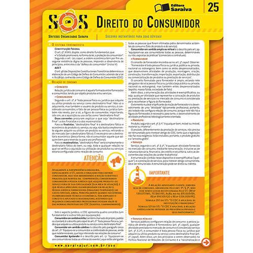 Coleção Sos - Sínteses Organizadas Saraiva Vol. 25 Direito do Consumidor 3ª Ed.