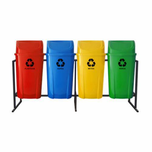 Coleta Seletiva de Lixo Santana com Tampa Vai e Vem 60 Litros - 4 Lixeiras
