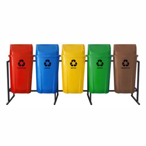 Coleta Seletiva de Lixo Santana com Tampa Vai e Vem 60 Litros - 5 Lixeiras