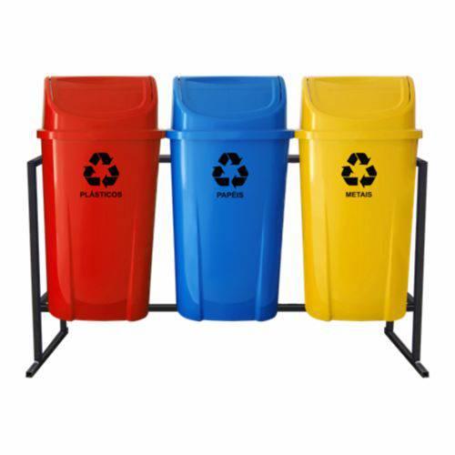Coleta Seletiva de Lixo Santana com Tampa Vai e Vem 60 Litros - 3 Lixeiras